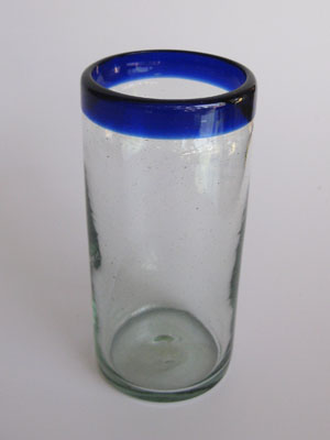 MEXICAN GLASSWARE / 'Cobalt Blue Rim' highball glasses (set of 6)